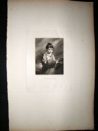 After Joshua Reynolds C1830 Folio Mezzotint. Miss Palmer, Children